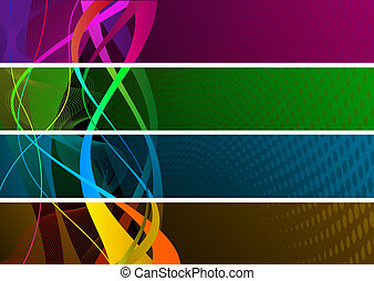 banieren, kleurrijke
