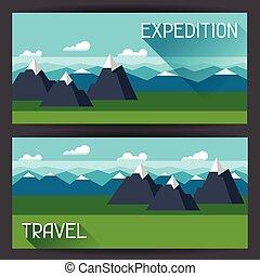 banieren, met, illustratie, van, berg landschap, in, plat, stijl