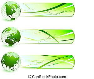 banieren, natuur, groene, iconen
