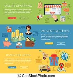 banieren, online winkelend