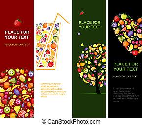 banieren, ontwerp, jouw, verticaal, vruchten