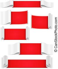 banieren, papier, rood