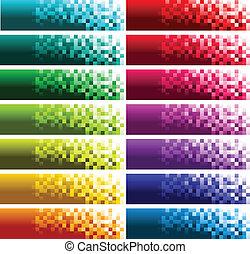 banieren, pixel, kleurrijke