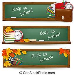 banieren, school, set, back
