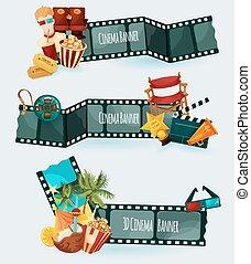 banieren, set, bioscoop