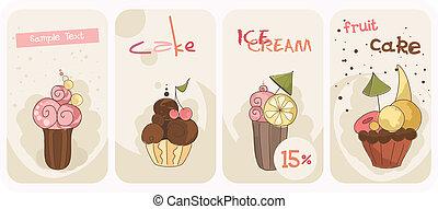 banieren, set, cupcakes