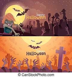 banieren, set, halloween