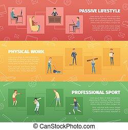 banieren, set, lichamelijke activiteit