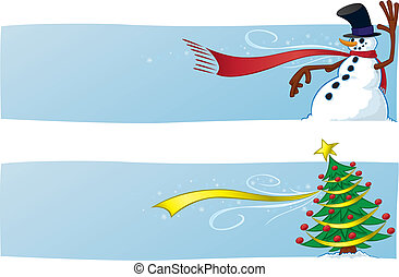 banieren, twee, kerstmis