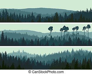 banieren, van, heuvels, naald, wood.