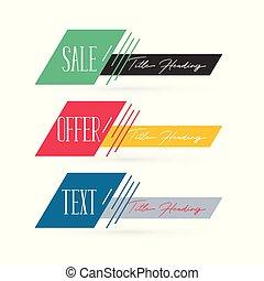 banieren, vastgesteld ontwerp, abstract, verkoop