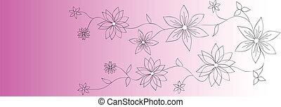 banieren, vector, bloem