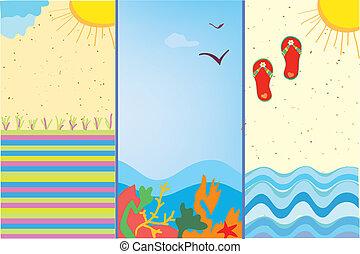 banieren, zee, stripfiguren, verticaal, formaat