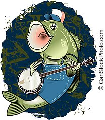 Banjo Bass - Banjo playing bass fish in overalls