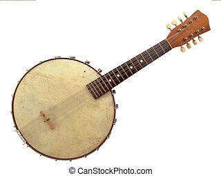 Banjo - Beautiful vintage six string banjo on white