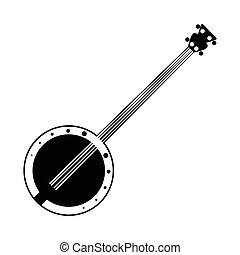 Banjo black icon. Simple symbol on a white background