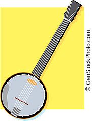 Banjo - Solitary banjo on a yellow square background
