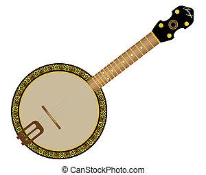 banjo string instrument on a white background