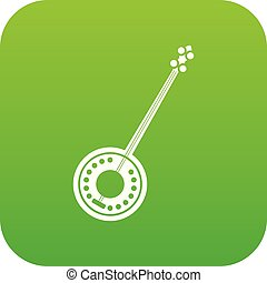 Banjo icon digital green for any design isolated on white...