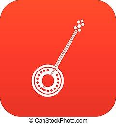 Banjo icon digital red