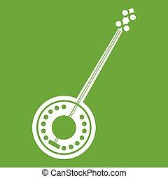 Banjo icon green - Banjo icon white isolated on green...