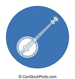 Banjo icon in black style isolated on white background. Musical instruments symbol stock vector illustration
