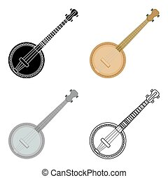 Banjo icon in cartoon style isolated on white background. Musical instruments symbol stock vector illustration
