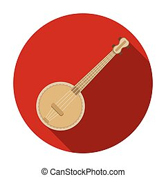 Banjo icon in flat style isolated on white background. Musical instruments symbol stock vector illustration