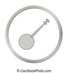 Banjo icon in monochrome style isolated on white background. Musical instruments symbol stock vector illustration