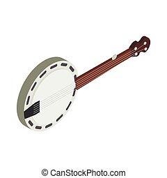 Banjo icon, isometric 3d style