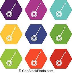 Banjo icon set color hexahedron