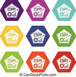 Banjo icons set 9 vector - Banjo icons 9 set coloful...