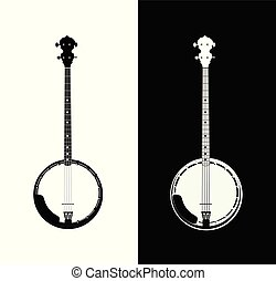 Banjo in black and white - Silhouette of Banjo - folk music...
