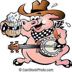 banjo, jouer, cochon