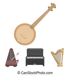 Banjo, piano, harp, metronome. Musical instruments set collection icons in cartoon style bitmap symbol stock illustration web.