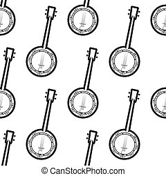 Banjo seamless background pattern - Banjo black and white...