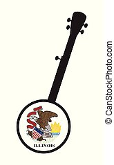 Banjo Silhouette With Illinois State Flag Icon