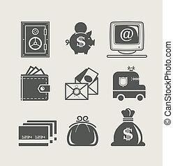 bankügylet, állhatatos, pénzel, ikon