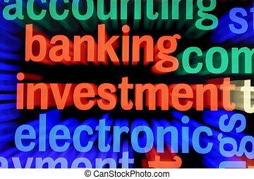 bankügylet, és, befektetés, fogalom