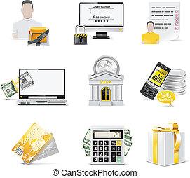 bankügylet, set., vektor, online, ikon