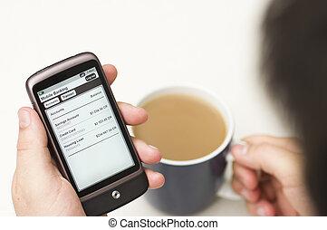 bankügylet, smartphone, részletek, ember, ellenőriz