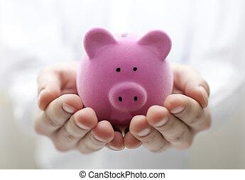 bank., 浅い, dof, 小豚, 保有物, 人