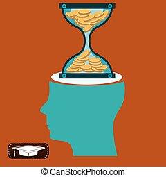 bank., 金貨, お金。, 堆積, 時間, head., 砂時計