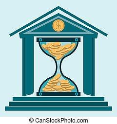 bank., 金, お金, コイン, お金。, 保護, 堆積, 砂時計, 時間, 建物。, 銀行, working.