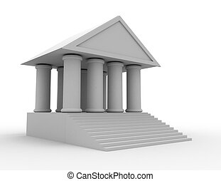 bank, 3d, icon., illustratiion, na, whtite, tło