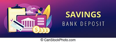 Bank account concept banner header. - Customer sitting with...