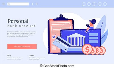 Bank account concept landing page. - Customer sitting with ...