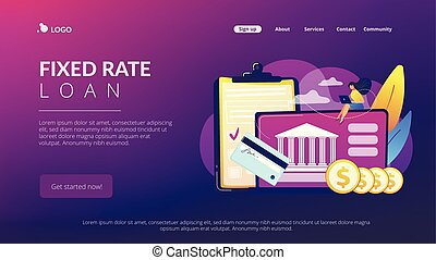 Bank account concept landing page. - Customer sitting with...