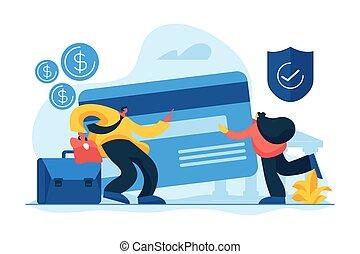 Bank account concept vector illustration - Credit card...