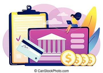 Bank account concept vector illustration. - Customer sitting...